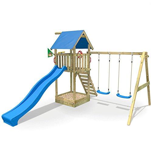 WICKEY Spielturm Smart Empire mit Rutsche, Schaukel & Sandkasten - Kletterturm (blaue Dachplane / blaue Rutsche)