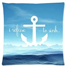 Coolest Sea Surface Anchor Pillowcase Zippered Pillow Case 16x16 Standard Size(Twin sides)