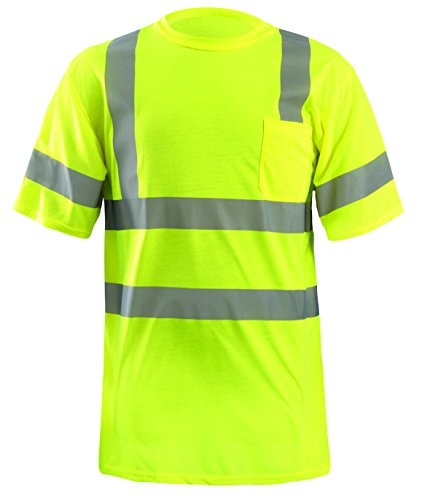 OccuNomix LUX-SSETP3-YXL Classic Standard Dual Stripe Short Sleeve Wicking T-Shirt with Pocket, Class 3, 100% ANSI Wicking Spun Polyester, X-Large, Yellow (High Visibility)