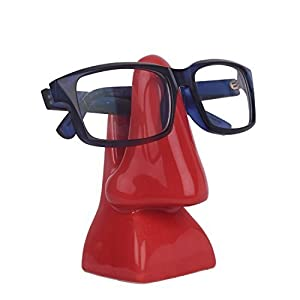 storeindya Ceramic Nose Shaped Eyeglass Spectacle Holder Display Stand Studio Pottery Home Office Desk Accessory (Bloody Red Collection)