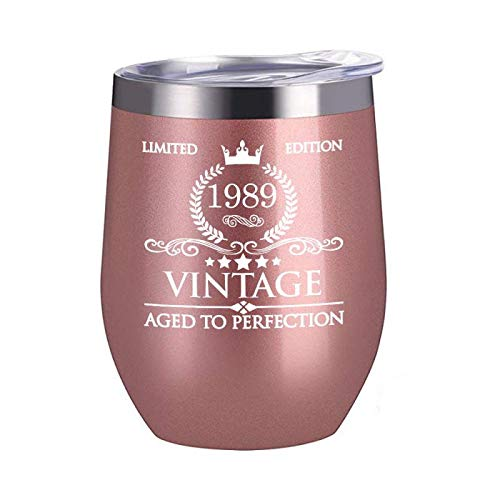 1989 30th Birthday Gifts for Women Men - 12 oz Stainless Steel Wine Glass Tumbler with Lid Party Decorations Supplies - Funny30th Birthday Gift Ideas for Him Her Husband Wife -