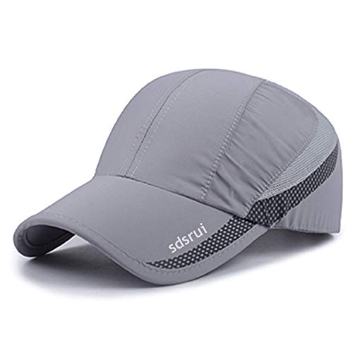 Quick Drying Lightweight Baseball Cap Outdoor Airy Mesh UV Protection Sun Hats (Light Gray)