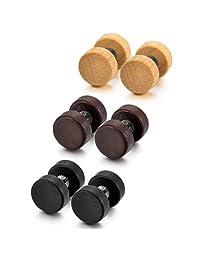 MOWOM Brown Black Stainless Steel Wood Stud Earrings (3 Pairs)