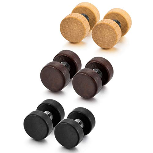 MOWOM Brown Black Stainless Steel Wood Stud Earrings (3 Pairs)