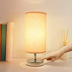 Touch Control Lamp, Aooshine Minimalist Bedside Table & Desk Lamp Modern Accent Lamp Dimmable Touch Sensor Light with Cylinder Lamp Shade Night Light Nightstand Lamp for Bedroom