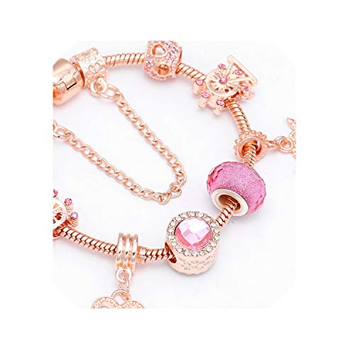 JustJ Bracelet Luxury DIY Beads Rose Gold Crystal Bangle BrWomen Charm Jewelry Gift 21 18cm