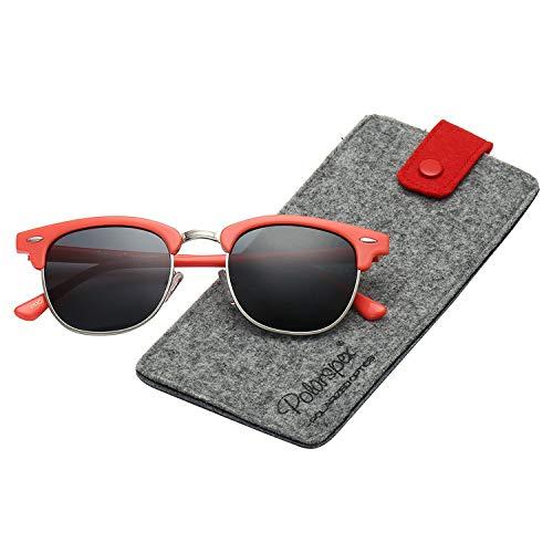 (Polarspex Unisex Retro Classic Stylish Malcom Half Frame Polarized Sunglasses )