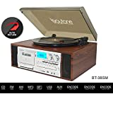 Boytone BT-38SM Bluetooth Classic Turntable Record Player System, AM/FM Radio, CD / Cassette Player, 2 Built-in Stereo Speakers, Record from Vinyl, Radio, and Cassette to MP3, SD Slot, USB, AUX.