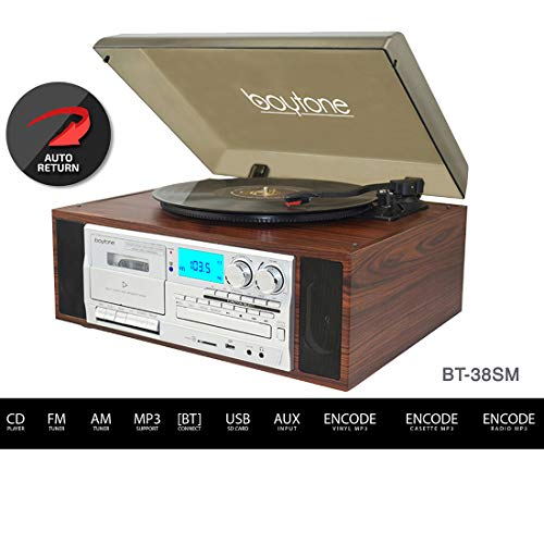 Boytone BT-38SM Bluetooth Classic Turntable Record Player System, AM/FM Radio, CD / Cassette Player, 2 Built-in Stereo Speakers, Record from Vinyl, Radio, and Cassette to MP3, SD Slot, USB, AUX. by Boytone