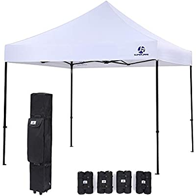SUPERJARE Pop-up Canopy, 10'x10' Commercial Shelter, Instant Folding Tent with Wheeled Carry Bag and 4 Weight Bags by SUPERJARE