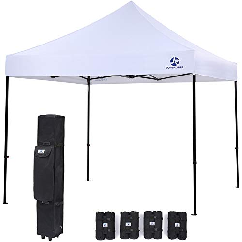 SUPERJARE Pop-up Canopy   4 Weight Bags and a Wheeled Carry Bag   10'x10' Commercial Shelter   Outdoor Instant Folding Tent   Heavy Duty - White ()