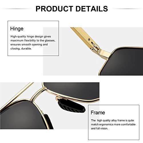 UVA Gafas Polarizadas Protección 100 Hombres De UVB Dorado Rectangulares Gris amp; De Marco Sol Metal Uvnq5wS