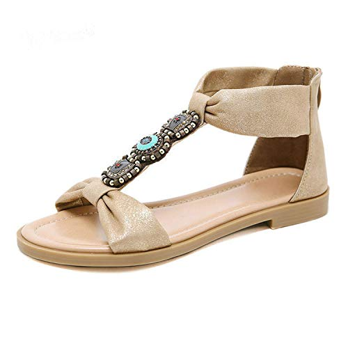 Women Sandals Summer Flat Platform Bohemia Style Beach Shoes Fashion Rhinestone Open Toe,Apricot,7