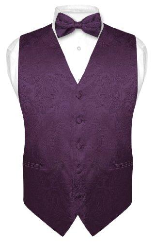 Vesuvio Napoli Men's Paisley Design Dress Vest & Bow Tie DARK PURPLE Color BOWTie Set sz Large