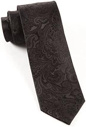 The Tie Bar 100% Woven Silk Black Designer Paisley 2 Inch Skinny Tie