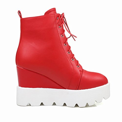 Latasa Womens Lace up Platform Ankle High Wedges Boots Red AUlL3nXc