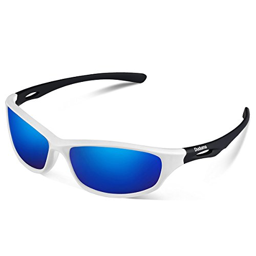Duduma Polarized Sports Sunglasses for Mens Womens Baseball Fishing Golf Running Cycling Driving Softball Hiking Floating Unbreakable Shades Tr80821 (650white blue - Shades Baseball