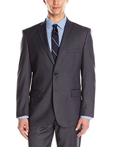 Adolfo Men's Gray Modern Fit Micro Tech Suit Jacket, Charcoal, 38 Short Charcoal Gray 38 Short