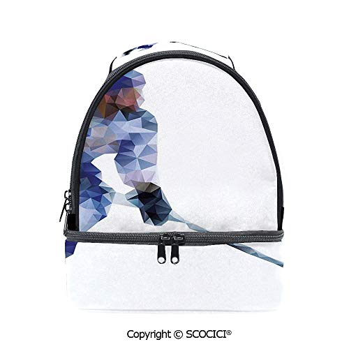 SCOCICI Large Capacity Durable Material Lunch Box Hockey Player in Fragmented Triangle Formes Winter Sports Hobby Design Multipurpose Adjustable Lunch Bag