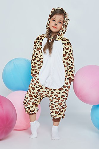 Kids Leopard Kigurumi Animal Onesie Pajamas Plush Onsie One Piece Cosplay Costume (Yellow, Brown, White) by Nothing But Love (Image #1)