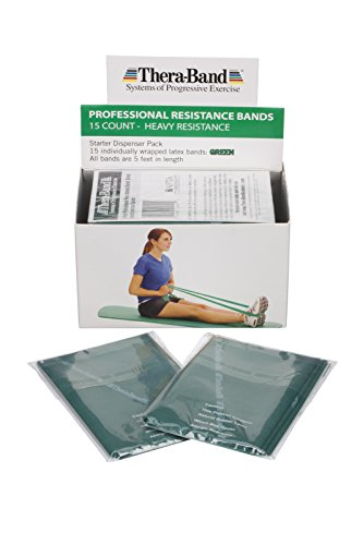 TheraBand Professional Latex Resistance Bands For Upper and Lower Body Exercise, Physical Therapy, Lower Pilates, At-Home Workouts, and Rehab, 5 Foot, 15 Count, Green, Heavy, Intermediate Level 1