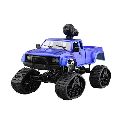Price comparison product image Hisoul WiFi Military Truck 1:16 2.4G 4CH 4WD 0.3MP HD Camera LED LightHigh Torque Front RC Off-Road Truck Car (Blue)