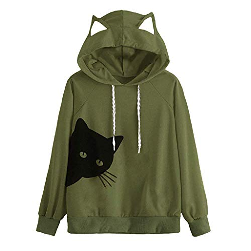 Blouses for Womens,DaySevevnth Womens Cat Long Sleeve Hoodie Sweatshirt Hooded Pullover Tops Blouse GN/XXL -