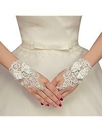 La Vogue Women's Satin Bow Lace Fingerless Wedding Gloves Wrist for Bride
