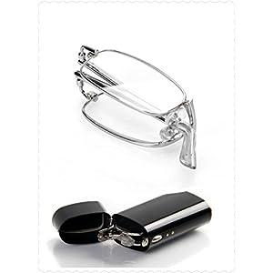 Lightweight Slim Silver Full Frame Unisex Men Women Eyewear Eyeglasses Folding Foldable Presbyopia Readers Reading Glasses +1.50 w/ Portable Pocket Case