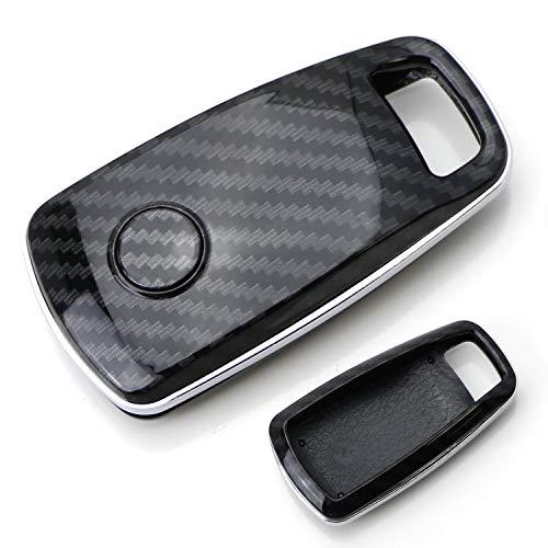iJDMTOY Exact Fit Black Glossy Carbon Fiber Finish Key Fob Shell For 2017-up Audi A4 A5 Q7, 2016-up Audi TT 3-Button Smart Key