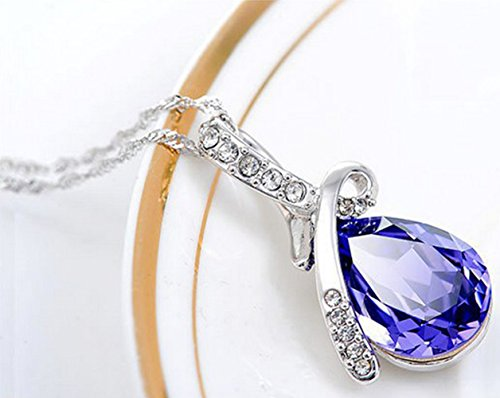 MR.TIE Hot Women Silver Plated Crystal Drop Pendant Necklace Fashion Jewelry
