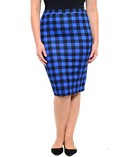 Plus Size Royal Black Plaid Skirt --Size: 3x Color: Royal