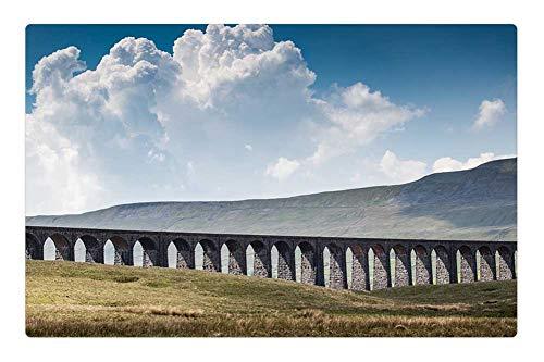 (Indoor Floor Rug/Mat (23.6 x 15.7 Inch) - Ribblehead Viaduct Railroad Tracks Landscape)