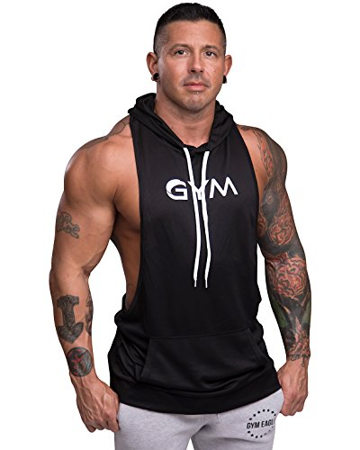 Sleeveless Gym (Men's Bodybuilding Sleeveless Hoodie Gym Athletic Workout Muscle Fitness Tank Tops (X-Large, Black))
