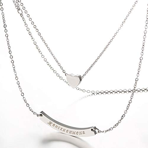 Personalized Blank Bar Necklace Stainless Steel Necklace Custom Name Plate Pendant Chain 22 Inch Engraved Jewelry Gift