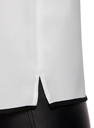 oodji Ultra Mujer Top con Acabado en Contraste Blanco (1229B)