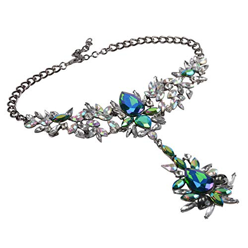 Holylove Blue Statement Necklace Chain for Women Daily Party Bachelo Wedding Club Show Gift Box-HLN00012 Blue