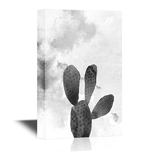 Cactus on Black and White Watercolor Background