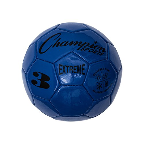 Champion Sports Extreme Series Soccer Ball, Regulation Size 5 - Collegiate, Professional, and League Standard Kick Balls - All Weather, Soft Touch, Maximum Air Retention - For Adults, Teenagers, Blue (Collegiate Air)