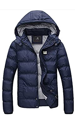 Ubon Men's Winter Cotton Outwear Thicken Coat Jacket with Removable Hood