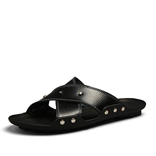 Xing Lin Sandalias De Hombre Verano Flip Flop Sandalias Sandalias De Playa De Hombres Marea Británica black