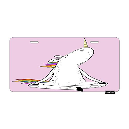 Moslion Unicorn License Plate Cute Animal Unicorns with Rainbow Hair Tail Striped Horn Car Tags Aluminum Metal Custom License Plate Cover 6x12 Inch for Truck SUV Pink White ()