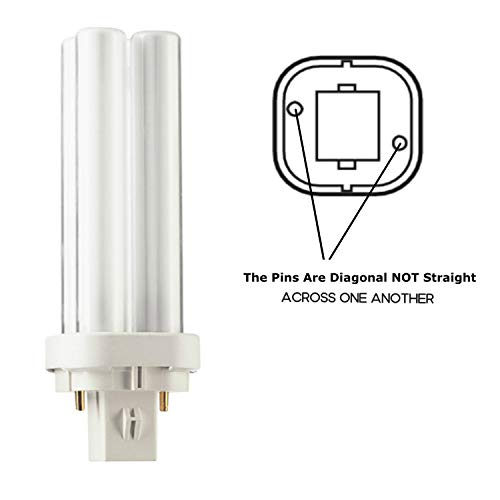Philips PL-C 13W/840 Alto Double Tube 2 Pin Base CFL / Compact Fluorescent Light Bulbs - 13 Watt 4K Plug in Lightbbulbs. (Pack of 2)