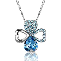 NEEMODA Four-Leaf Clover Necklace with Austrian Crystals, 18 inches + 2 inches Triple White Gold Plated Chain, Luxury Gift Box