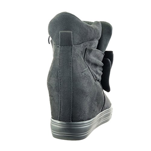 Angkorly - Zapatillas de Moda Deportivos Plataforma zapatillas de plataforma mujer pajarita Talón Plataforma 7.5 CM - Negro