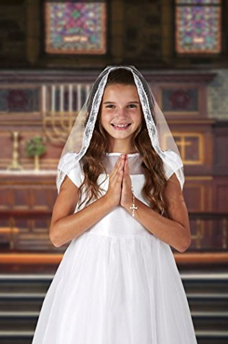 (Girls First Communion Mantilla Style Lace Veil with Embroidered Chalice, 25)