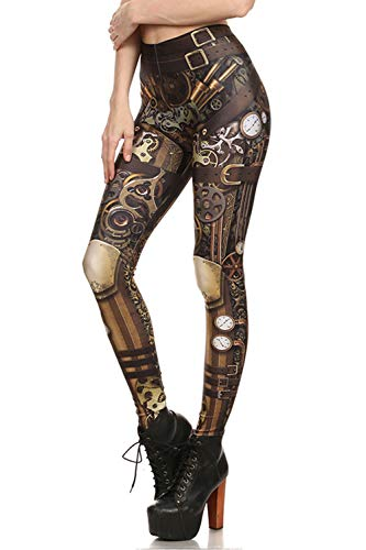 color cosplayer Steampunk Retro Comic Cosplay Women Leggings Print Polyester Trousers Pants (M, KDK1625) -