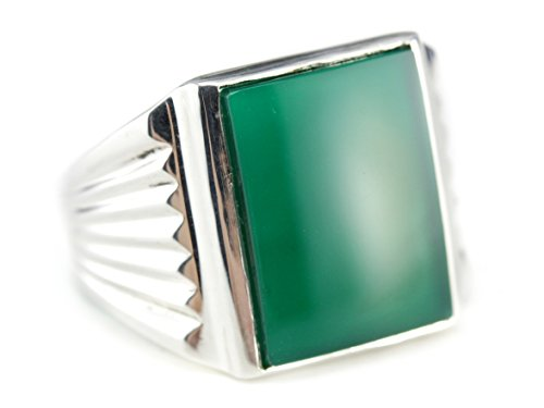 925 Market Square Green Onyx Sterling Silver Statement Ring