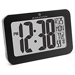 MARATHON CL030033BK Atomic Self-setting Self-adjusting Wall Clock w/ Stand & 8 timezones - Batteries Included (Black)