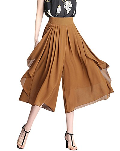 - Women's Chiffon High Waist Wide Leg Palazzo Capri Culottes Pants with Pockets, Camel, US 4 = Tag M